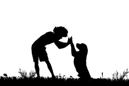 game dog: Vector silhouette of a man with a dog on a meadow. Illustration