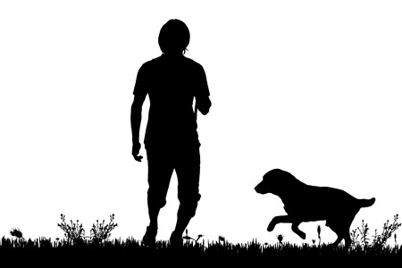 dog outline: Vector silhouette of a man with a dog on a meadow. Illustration