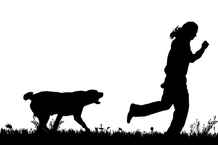 wrestle: Vector silhouette of a man with a dog on a meadow. Illustration