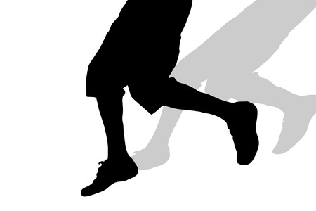 body slim: Vector silhouette of male feet on a white background. Illustration