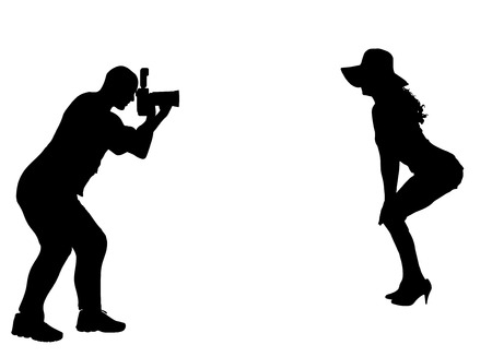 nude fashion model: Silhouette photographer at work with sexy model.