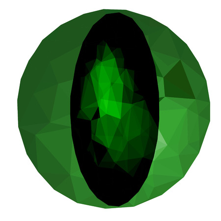 jewel: Low poly green jewel on white background Illustration