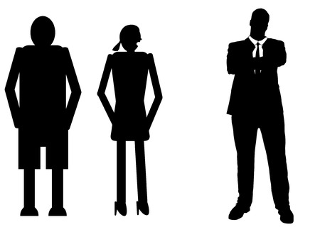 rich girl: funny silhouette icon dolls and successful man Illustration