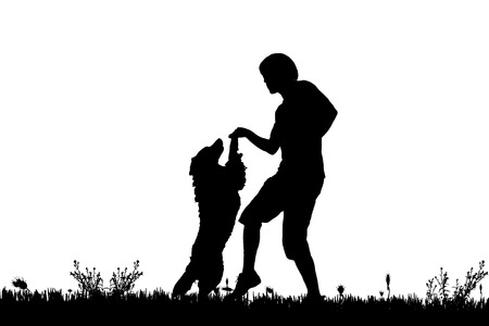 dog owner: Vector silhouette of a man with a dog on a meadow. Illustration