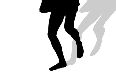 nice body: Vector silhouette of male feet on a white background. Illustration