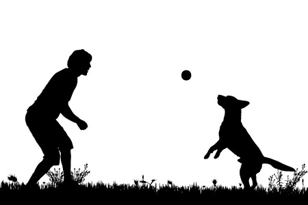 gag: Vector silhouette of a man with a dog on a meadow. Illustration