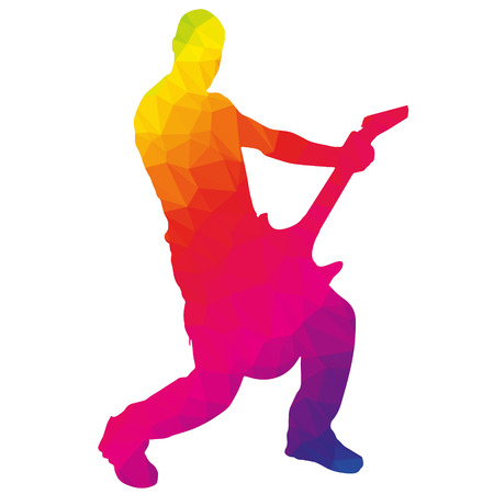 rock singer: Colored silhouette of the musician low poly style.