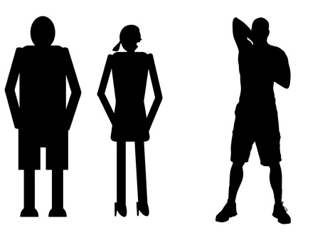 sexy man: funny silhouette icon dolls and sexy man