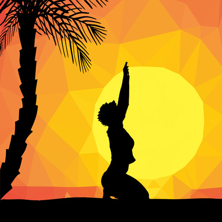 joga: Low poly sunset with palm and sea Illustration