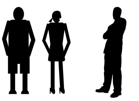 rich couple: funny silhouette icon dolls and successful man Illustration