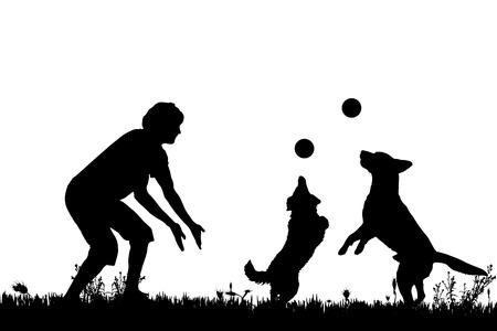 草原の犬と人のベクトル シルエット。  イラスト・ベクター素材
