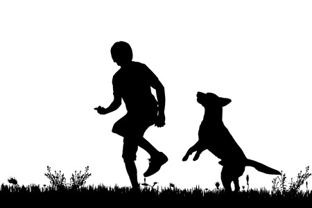 dog walker: Vector silhouette of a man with a dog on a meadow. Illustration