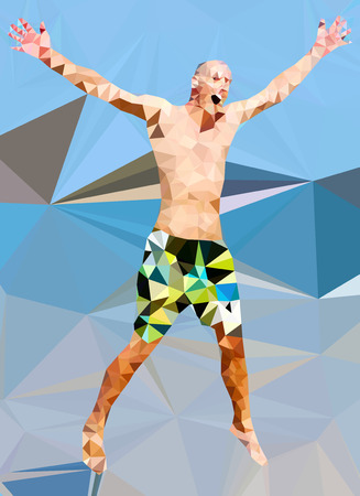 male model torso: Low poly man jumping on the sea.