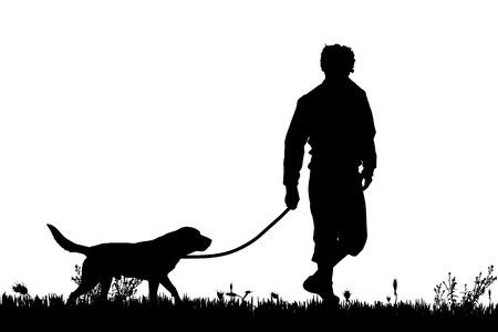 chien: Vector silhouette d'un homme avec un chien sur une prairie.