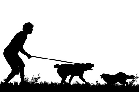 animal fight: Vector silhouette of a man with a dog on a meadow. Illustration