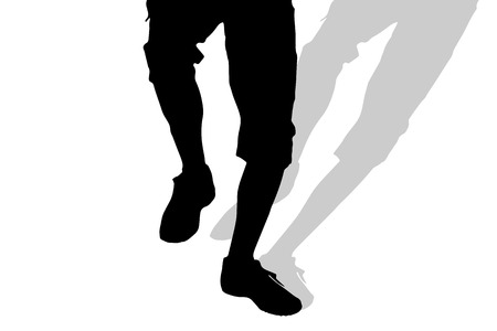 human leg: Vector silhouette of male feet on a white background. Illustration