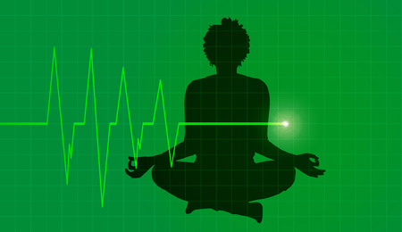 joga: silhouette athlete with cardiogram on green background Illustration