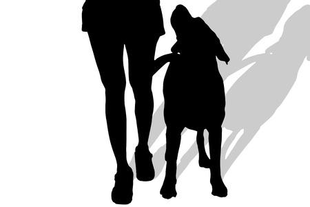 白い背景の上の犬を持つ女性のベクトル シルエット。