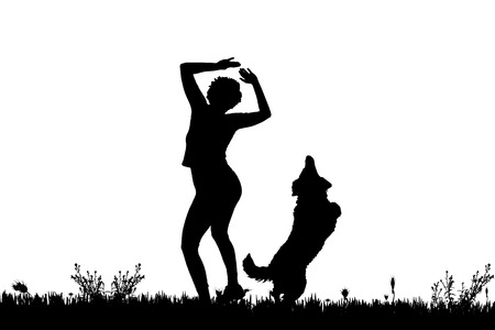 funny dog: Vector silhouette of a woman with a dog on a meadow.