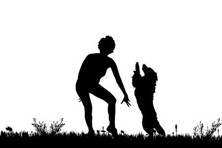 mujer con perro: Vector silueta de una mujer con un perro en un prado.