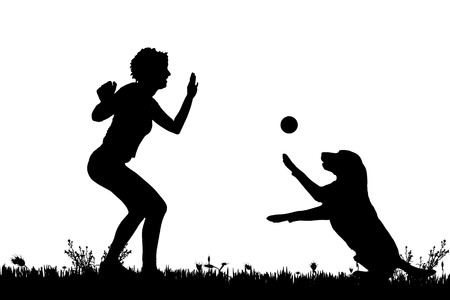 labrador: Vector silhouette of a woman with a dog on a meadow.