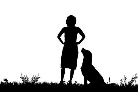 perro labrador: Vector silueta de una mujer con un perro en un prado.