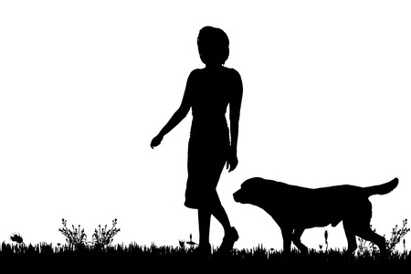 dog walker: Vector silhouette of a woman with a dog on a meadow.