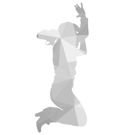 male ballet dancer: Vector silhouette dancers of low poly style. Illustration