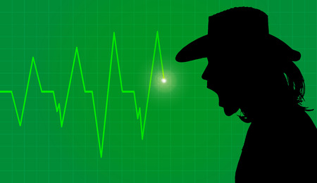 cardiogram: silhouette person with cardiogram on green background