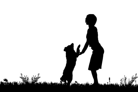 woman walk: Vector silhouette of a woman with a dog on a meadow.