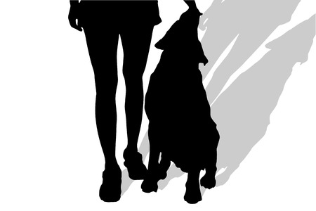 dog walker: Vector silhouette of a woman with a dog on a white background. Illustration