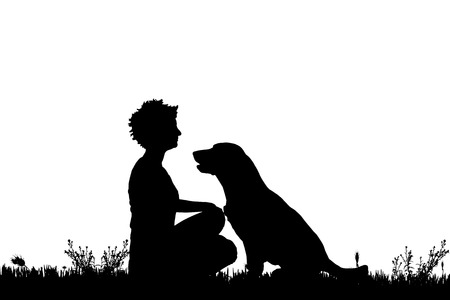 companions: Vector silhouette of a woman with a dog on a meadow.