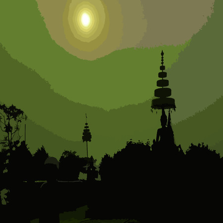 tibet: Vector illustration buddhist temple silhouette with sunset