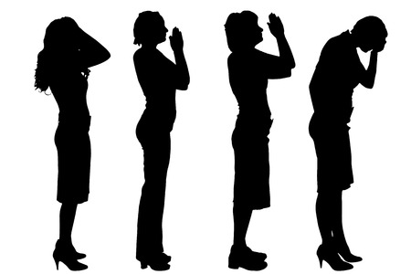 black and white image: Vector silhouettes of women on a white background. Illustration