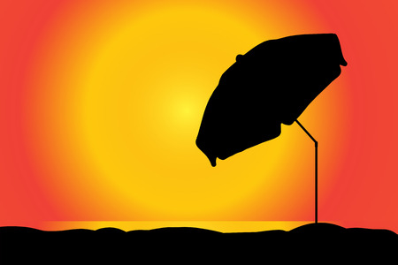 parasol: Vector silhouette of a parasol on the beach at sunset.