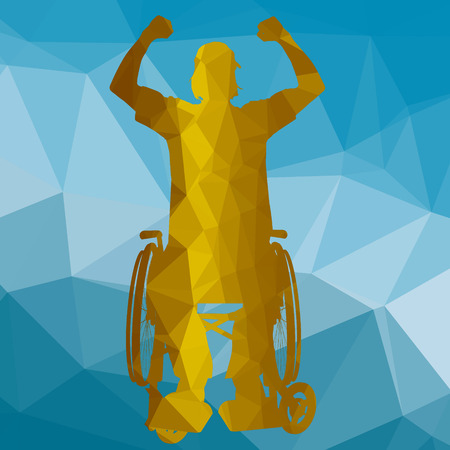 handicapped: low poly silhouette handicapped man on a colored background