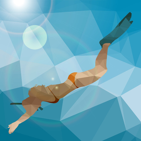 Low poly silhouette of a woman diver.