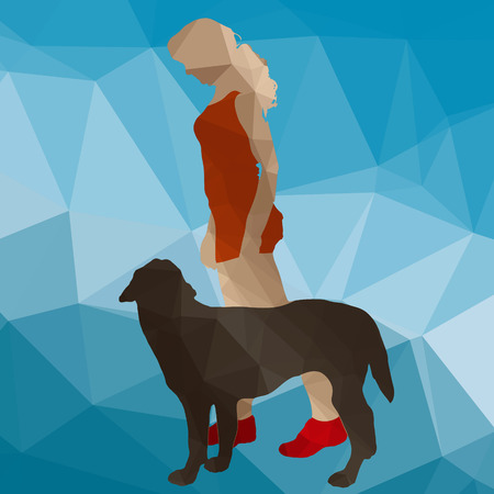 dog training: low poly silhouette dog training on a blue background