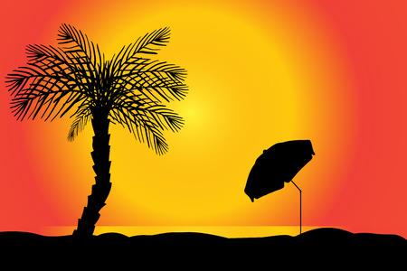eden: Vector Silhouette der Strand mit Palmen bei Sonnenuntergang.