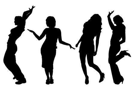 zumba: Vector siluetas de mujeres sobre un fondo blanco. Vectores