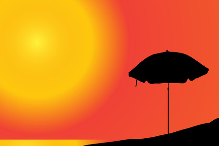 beach sunset: Vector silhouette of a parasol on the beach at sunset.