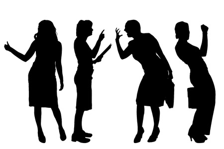 hassle: Vector silhouettes of women on a white background. Illustration