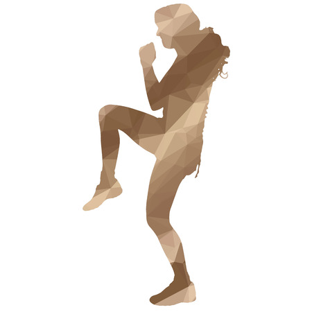 Low poly boxing woman on white background. Illustration