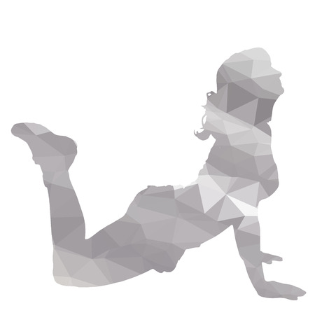 sport woman: low poly sport woman on white background