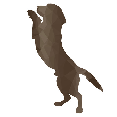 barking: low poly silhouette dog on a white background Illustration