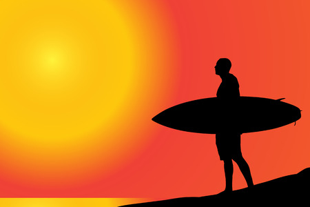 surfing: Vector silhouette of a man with surfboard on the beach.