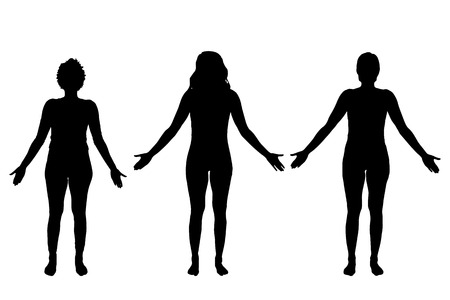 body woman: Vector silhouettes of women on a white background. Illustration