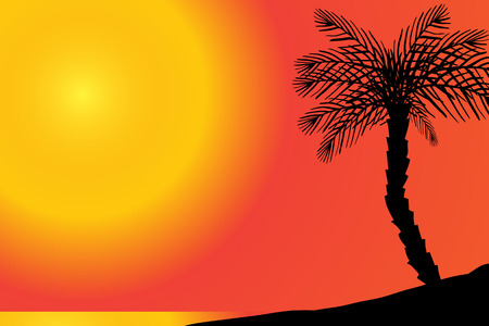 sand beach: Vector silhouette of beach with palm tree at sunset. Illustration