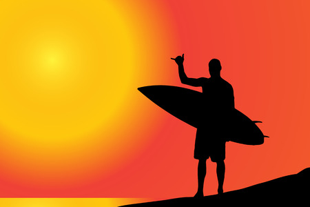 Vector silhouette of a man with surfboard on the beach.