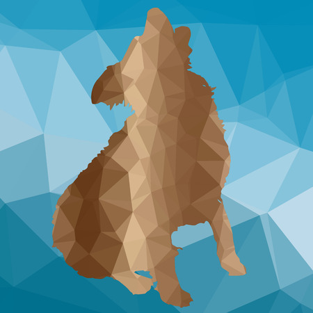 barking: low poly silhouette dog on a blue background
